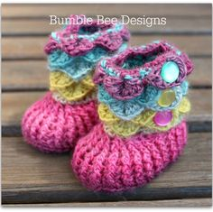 These cute booties size newborn-6 months just bring a smile to my face the colours are so gorgeous.