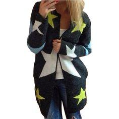 Купить Осень кардиганы звезды шаблон печать свободного покроя мода женщин длинные свитера широкий теплые вязаные кардиганы с длинным рукавом теплый Outwearsи другие товары категории Кардиганыв магазине MezoneнаAliExpress. кардиган капот и женщин джемпер свитер