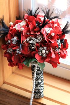 Red Brooch Bouquet art deco gatsby silver black by Rusticcreek