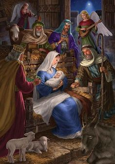 Holy Night is a 400 piece jigsaw puzzle by Cobble Hill featuring the Nativity Scene of Jesus Christ and measures at 24 Nativity House, Christmas Nativity Scene, Christmas Scenes, Christmas Pictures, Winter Christmas, Christmas Decor, Illustration Noel, Illustrations, Jesus Pictures