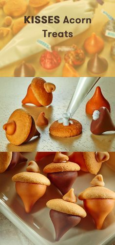 Fall is in the air with these HERSHEY'S KISSES Acorn Treats! It's a simple, quick and easy recipe to make as an after-school snack for your kids. Enjoy these festive fall-themed treats at home, in the car or on the go, made with HERSHEY'S KISSES Brand Milk Chocolates or HERSHEY'S KISSES Brand Pumpkin Spice Flavored Candies, vanilla wafer cookies, and HERSHEY'S Butterscotch Chips.