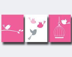 Nursery Bird Art Print Baby Girl Wall Art Prints Pink by HopAndPop, $28.00