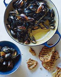 Mussels with Saffron and Citrus  Recipe on Food & Wine Hmmm, might replace the heavy cream with coconut milk.