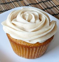 Brown butter pumpkin cupcakes with cinnamon cream cheese frosting.