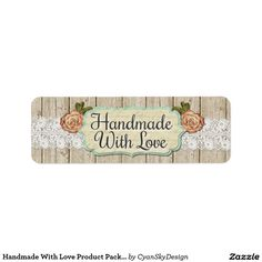 Handmade With Love Product Packaging Stickers / Return Address Label #handmade #handmadewithlove #etsy #crafter #craft #marketing #packaging #tags #labels #sticker #smallbusiness #shabbychic #country #roses #lace #wood