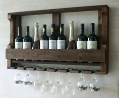 Мебель ручной работы. Ярмарка Мастеров - ручная работа. Купить Полка для вина классическая (8 бокалов). Handmade. Полка для вина