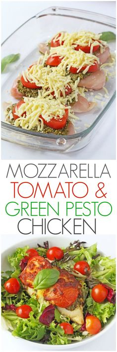 Mozzarella, Tomato & Basil Pesto Chicken A delicious and easy mid week meal. Just 3 minutes prep and 30 minutes in the oven to make this Mozzarella, Tomato & Basil Pesto Chicken Yummy Recipes, Dinner Recipes, Cooking Recipes, Recipies, Dinner Ideas, Vegetarian Cooking, Chicken Recipes Oven, Kid Recipes, Quick Recipes