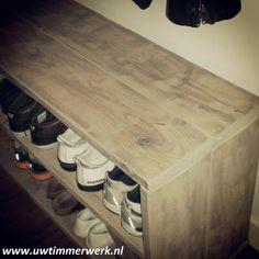 Schoenenrek van hout osb makkelijk zelf te maken zelf maken van hout pinterest tes and van - Idee gang ingang ...