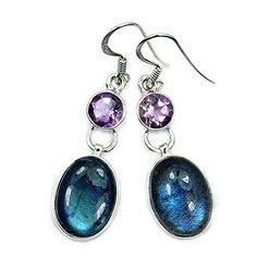 Sterling Silver Labradorite, Amethyst Dangle Earrings  Price : $37.95 http://www.silverplazajewelry.com/Sterling-Silver-Labradorite-Amethyst-Earrings/dp/B00M9CYPRQ