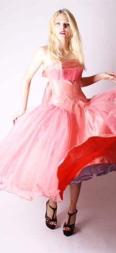 Vintage 1950s Dress 1950s Pink Dress 50s Party by aiseirigh // truly madly deeply NEED