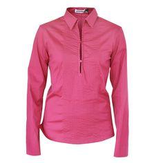 JIL SANDER $370 fuchsia pink Hike Em embroidered top stitch polo shirt 36/4 NEW #JilSander #PoloShirt #Casual
