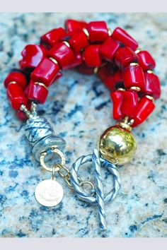 Designer Chunky Red Coral Nugget, Gold and Silver Statement Bracelet Coral Bracelet, Coral Jewelry, Silver Jewelry, Beaded Bracelets, 925 Silver, India Jewelry, Silver Earrings, Gold Necklace, Cheap Fashion Jewelry