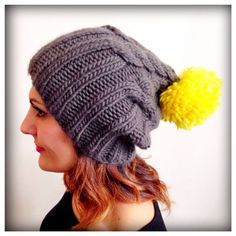 Love!  Piper Cable Knit Hat with Pom Pom by JaxOriginals on Etsy