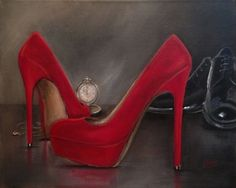 Somewhere In Time, Red Shoe series by Jacqui Faye, painting by artist jacqui faye