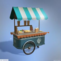 Blue ice cream cart 🍦❤ Created By #Jim_Houssem Software: #maya #photoshop #mentalray  #Bestpixel_Studios