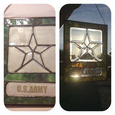 Army stained glass panel for Donation on facebook page WP Items For Donation. By Ann Morrison