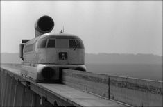 In 1963, a French engineer built a hovercraft on rails