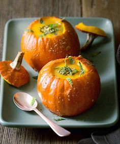 Use pumpkins as soup bowls for your next dinner party.