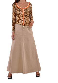 Style J Damen Rock Feminine Khaki Lang: Amazon.de: Bekleidung