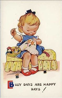 I'll never forget sewing patches on Colette's favorite overalls! Then she had me do it for Roxie too! Sewing Art, Sewing Crafts, Sewing Projects, Vintage Greeting Cards, Vintage Postcards, Costura Vintage, Vintage Drawing, Vintage Valentines, Cute Illustration