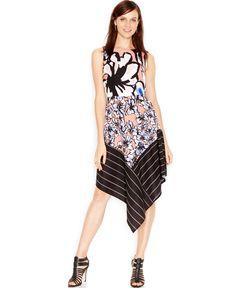Bar Iii Mixed-Print Handkerchief-Hem Dress