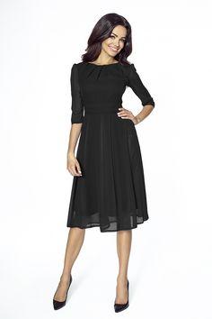 Koktajlowa sukienka z szyfonu KM211 - Sukienki rozkloszowane - SUKIENKI - Jesteś Modna: Sukienki 2016, bluzki, tuniki, najlepsza moda online