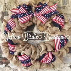 Patriotic Burlap Wreath 4th of July Wreath-Fourth of July Wreath Red... ($38) ❤ liked on Polyvore featuring home, home decor, grey, home & living, home décor, ornaments & accents, blue home accessories, star wreath, gray home decor and monogram wreath