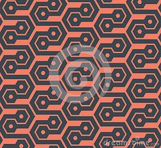 Seamless abstract retro pattern from geometric hexagonal shapes in orange and black colors. Suitable for web, print, wallpaper, gift wrapping, home decor, fashion, invitation background, textile design. Layered EPS8 vector file for easy manipulation and coloring.