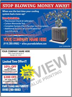 Create faster response to your tune up special mailings with hvac postcard marketing 7 fandeluxe Images