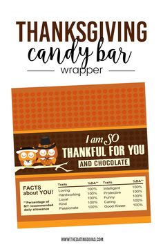 Free Thanksgiving candy bar wrapper Candy Bar Wrappers, Free Printables, Thanksgiving, Fun, Crafts, Manualidades, Free Printable, Thanksgiving Tree, Handmade Crafts