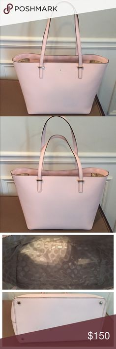 """Kate Spade Cedar Street Small Harmony Tote Great used condition! A small amount of color transfer from denim on both sides is barely visible, but tried to capture in last photo. This is a great, sturdy tote and measures about 16"""" across the top; 12"""" across the bottom; 10"""" tall and 6"""" wide. Three interior pockets to keep you organized and the top zips closed! Great, versatile bag. Saffiano leather in ballet slipper pink. Includes dust bag, tag and care card. Purchased at Bloomingdales. Smoke…"""