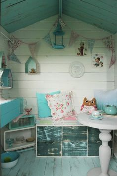 After: Backyard Shed to Small Piece of Heaven Playhouse Before amp; After: Backyard Shed to quot;Small Piece of Heaven quot; Playhouse Decor, Playhouse Interior, Outside Playhouse, Girls Playhouse, Shed Interior, Backyard Playhouse, Build A Playhouse, Playhouse Ideas, Interior Walls