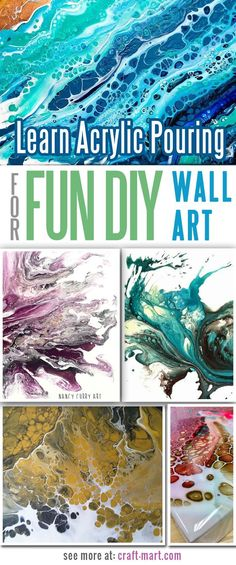 You don't have to study hard to have fun creating canvas wall art with the acrylic pouring technique! Easy to learn - great results. #diy #acryliconcanvas