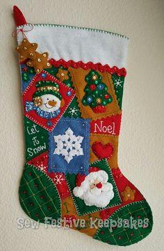 Christmas Stocking Seasonal Patchwork Santa by SewFestiveKeepsakes Felt Christmas Stockings, Felt Stocking, Felt Christmas Ornaments, Christmas Holidays, Felt Crafts, Christmas Crafts, Embroidered Stockings, Advent, Personalized Stockings