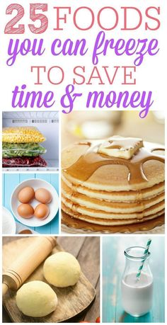 25 Foods You Can Freeze Want to save more time and money? Check out these foods you can freeze. Buy or make when things are on sale and enjoy them all year long. Make Ahead Freezer Meals, Freezer Cooking, Frugal Meals, Cheap Meals, Easy Meals, Cooking Recipes, Cooking Tips, Freezer Recipes, Frugal Tips