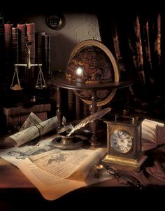 Like the globe and quill pen...