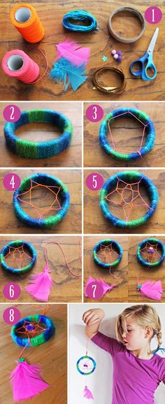 Make a mini Dreamcatcher with craft activity pdf printout...instructions on step-by-step photo instructions dreamcatcher craft ideas