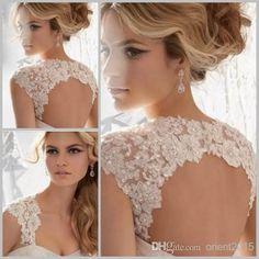Ivory White Sleeveless Bridal Lace Bolero Jacket Keyhole Back Lace Wedding Jacket with Sequins for Wedding Dress, $24.09 | DHgate.com