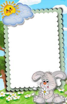 """Bunny on A Cloudy Day"" letter pad School Border, Disney Frames, Boarders And Frames, Text Frame, School Frame, Baby Frame, Board Decoration, Birthday Frames, Cute Frames"