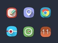 6 Round Flat Icons PSD