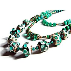 Green Bohemian multi strand necklace, Green Boho lampwork necklace... ($62) ❤ liked on Polyvore featuring jewelry and necklaces