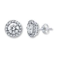 Diamond Earrings 2 ct tw Round-cut 14K White Gold