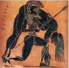 Ajax Carries the Dead Achilles-Greek Vase Detail (580 BC, Florence) | by Ark in Time