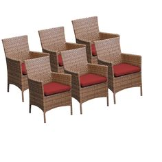 TKC 6 Laguna Outdoor Dining Chairs With Arms, Terracotta