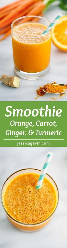 Orange Carrot Ginger Smoothie with Turmeric - Add a boost to your day with this refreshing beverage recipe packed with health benefits! | jessicagavin.com