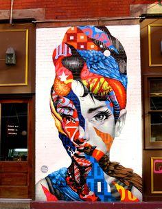 Tristan Eaton Audrey Hepburn (2013) Mulberry near Broome, Little Italy, New York City