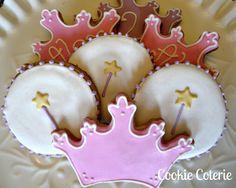 Crown Tiara Cookies Princess Prince Theme by CookieCoterie on Etsy Galletas Cookies, Iced Cookies, Royal Icing Cookies, Sugar Cookies, Cookies For Kids, Cute Cookies, Cupcakes, Cupcake Cookies, Cookie Designs