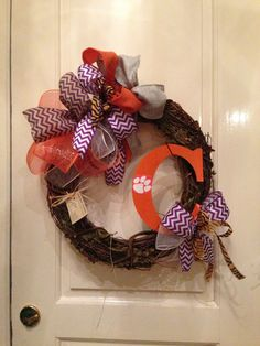 J. Truan Interiors ~ Clemson Wreath ~ Custom wreath services available year round!  Contact jtruaninteriors@gmail.com for inquiries & pricing info.  Have an idea of your own?  Contact us & we'll create it for you!  Shipping available.