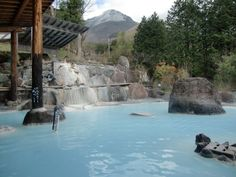 the one and only cobalt blue onsen in Yufuin, Japan. must must must.