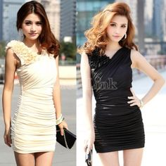 $7.10Women's Flower Shoulder V Neck Sleeveless Over Hip Pleated Sexy Clubwear Cocktail Party Dress